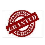 Permission Granted red Postcards (Package of 8)