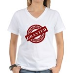 Permission Granted red Women's V-Neck T-Shirt