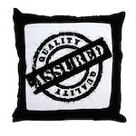 Quality Assured black Throw Pillow
