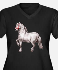 Percheron Draft Horse Women's Plus Size V-Neck Dar