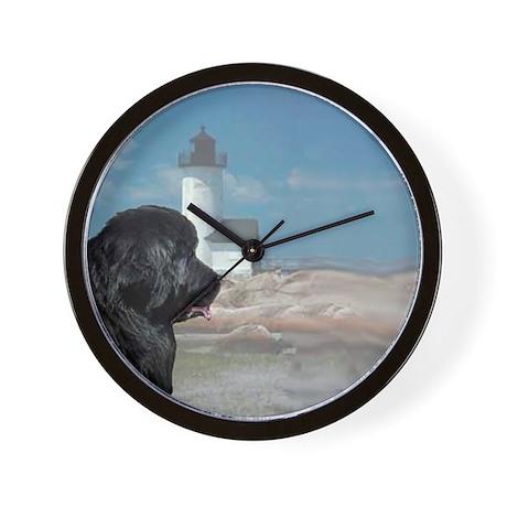 black newf portrait Wall Clock
