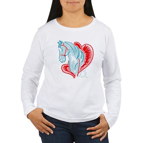 blue horse Women's Long Sleeve T-Shirt