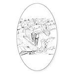 Sky Roller Pigeons Oval Sticker (10 pk)