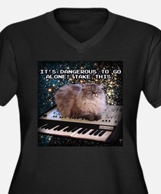 Cat On A Keyboard In Space Women's Plus Size V-Nec