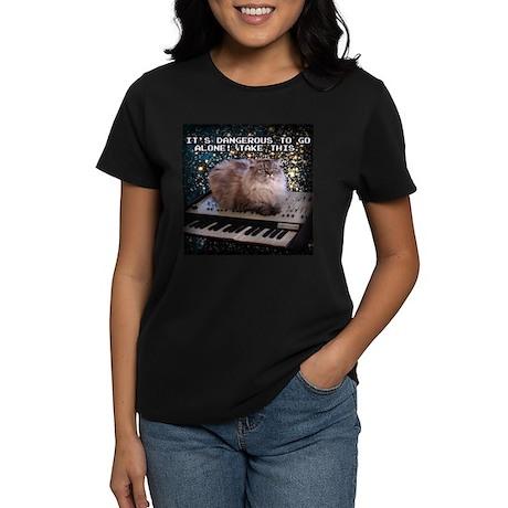 Cat On A Keyboard In Space Women's Dark T-Shirt