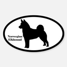 Norwegian Elkhound Silhouette Oval Decal
