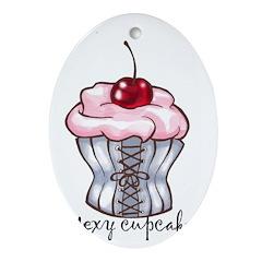 Sexy Cupcake Oval Ornament