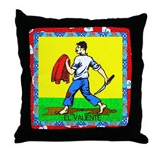 Vintage Loteria Valiente Throw Pillow