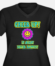 Cheer Up Women's Plus Size V-Neck Dark T-Shirt