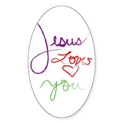 Jesus Loves you but im his fa Oval Sticker (10 pk)
