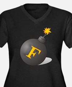 F-Bomb Women's Plus Size V-Neck Dark T-Shirt