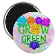 """Grow Green Floral 2.25"""" Magnet (100 pack)"""