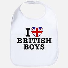 I Love British Boys Bib