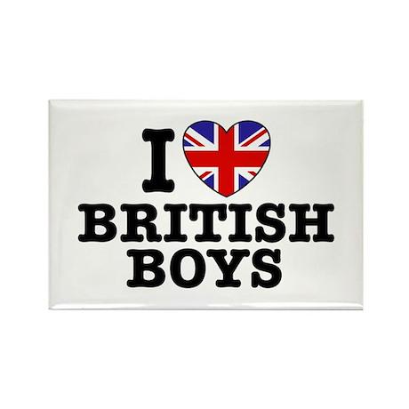 I Love British Boys Rectangle Magnet