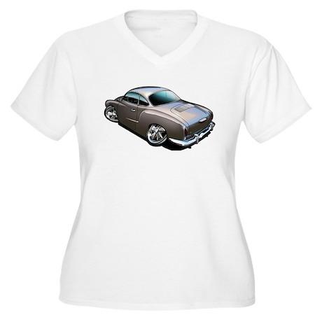 Karmann Ghia Brown Women's Plus Size V-Neck T-Shir