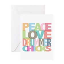 Peace Love Drummer Chicks Greeting Card