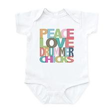 Peace Love Drummer Chicks Infant Bodysuit