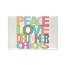 Peace Love Drummer Chicks Rectangle Magnet