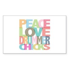Peace Love Drummer Chicks Rectangle Decal