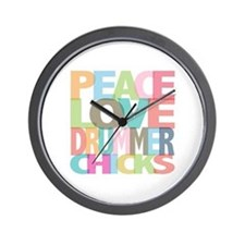 Peace Love Drummer Chicks Wall Clock