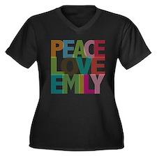 Peace Love Emily Women's Plus Size V-Neck Dark T-S