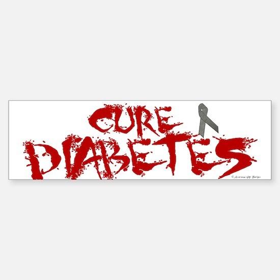 Cure Diabetes Graffiti Red Bumper Car Car Sticker
