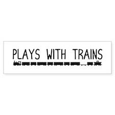 Plays With Trains Bumper Bumper Sticker