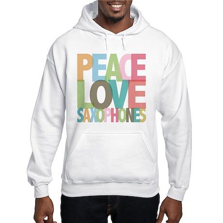 Peace Love Saxophones Hooded Sweatshirt