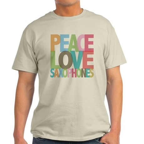 Peace Love Saxophones Light T-Shirt