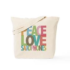 Peace Love Saxophones Tote Bag