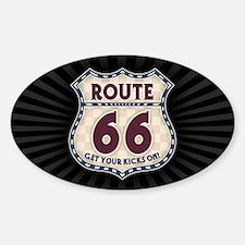 Retro Vintage Rte 66 Sticker (Oval)