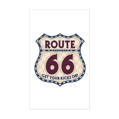 Retro Vintage Rte 66 Rectangle Sticker