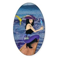 Pirate Wench Walks The Plank Oval Decal