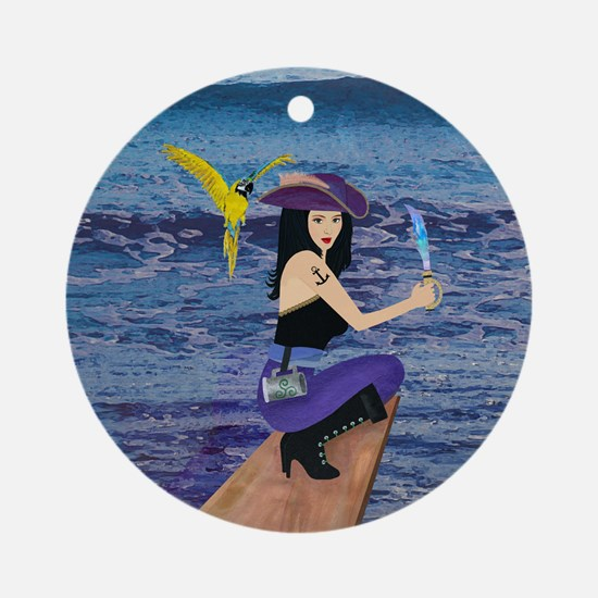 Pirate Wench Walks The Plank Ornament (Round)