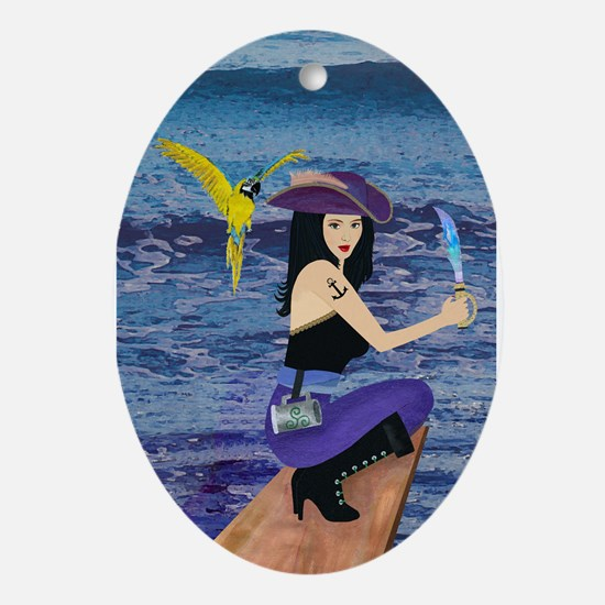 Pirate Wench Walks The Plank Oval Ornament