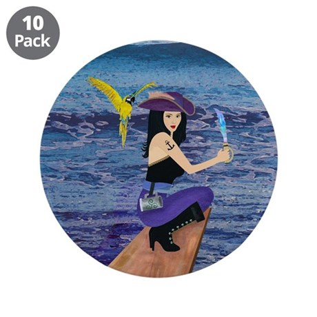 """Pirate Wench Walks The Plank 3.5"""" Button (10 pack)"""