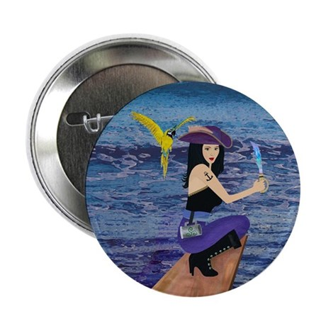 """Pirate Wench Walk The Plank 2.25"""" Button"""