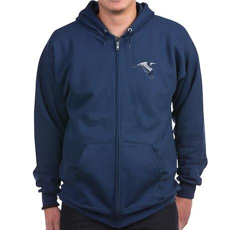 heron design Zip Hoodie (dark)