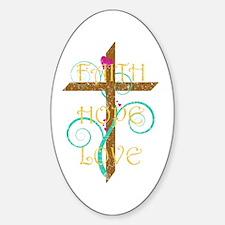 Faith Hope Love Oval Decal