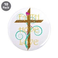"Faith Hope Love 3.5"" Button (10 pack)"