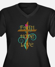 Faith Hope Love Women's Plus Size V-Neck Dark T-Sh