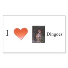 """I Love Dingoes"" Rectangle Decal"