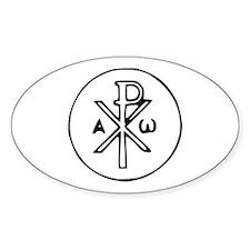 Chi Rho Oval Sticker (10 pk)