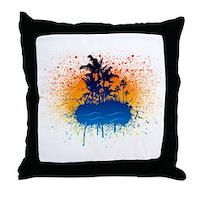Paradise Graffiti Island Throw Pillow