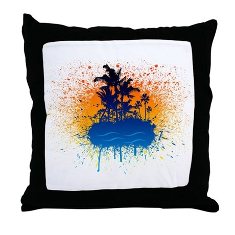 Paradise Graffiti Island Throw Pillow