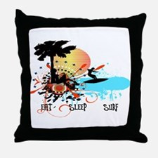 Eat Sleep Surf Throw Pillow