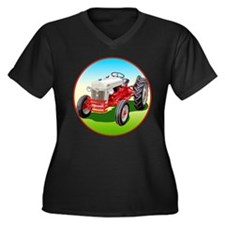 Funny Ford tractor Women's Plus Size V-Neck Dark T-Shirt