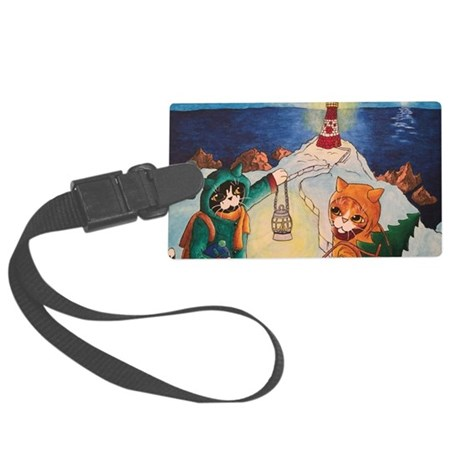 Lighthouse at Night Cats Large Luggage Tag
