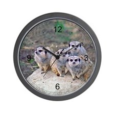 4 Meerkats Peering Wall Clock