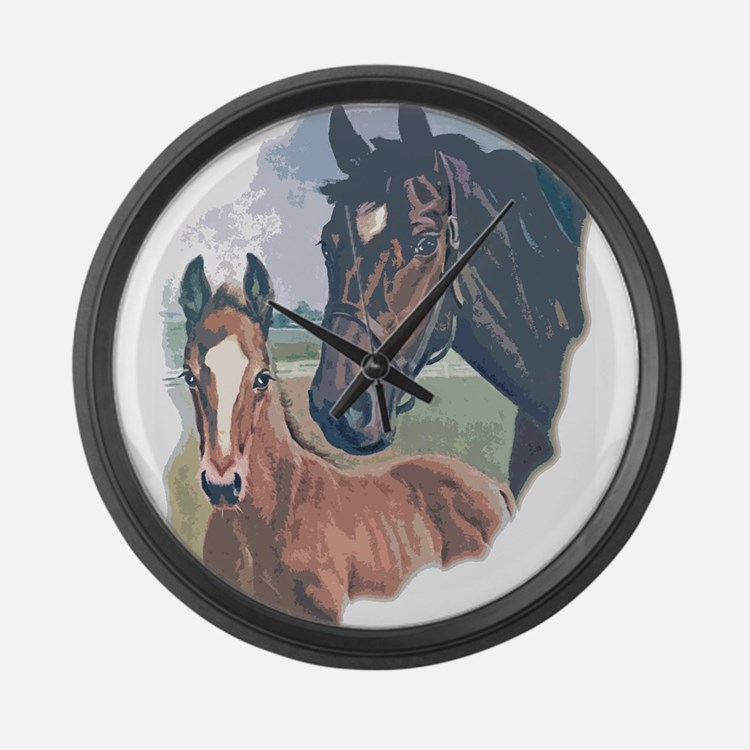 mare and colt portrait Large Wall Clock
